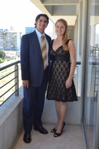Us getting dressed up for the wedding - it felt odd to wear dress clothes again!